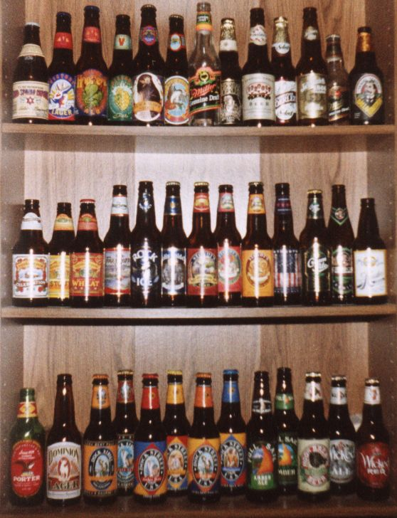 Shelves of beer bottles