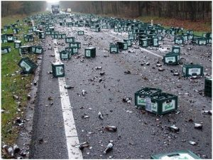 Beer cases on road