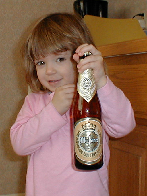 Madison grabs a beer for Daddy